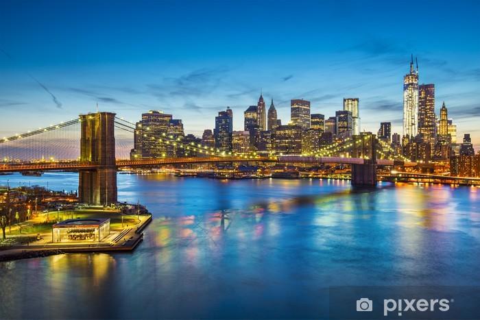 Fototapete Brooklyn-Brücke in New York City von oben East River ...