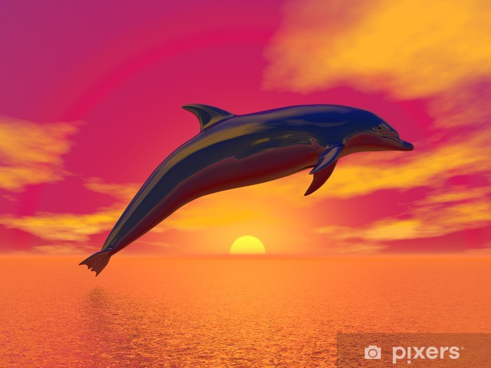 Vinyl-Fototapete Freedom of the Dolphin - 3D Render - Themen