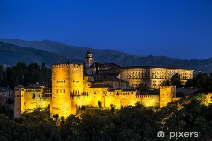 Ancient arabic fortress of Alhambra at night. Granada, Spain. Pixerstick Sticker - Holidays