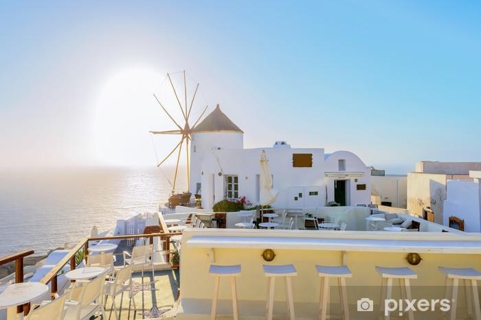 Kreikka santorini saari oia auringonlasku, näkymä edellä caldera merellä Vinyyli valokuvatapetti - Euroopan Kaupunkeja