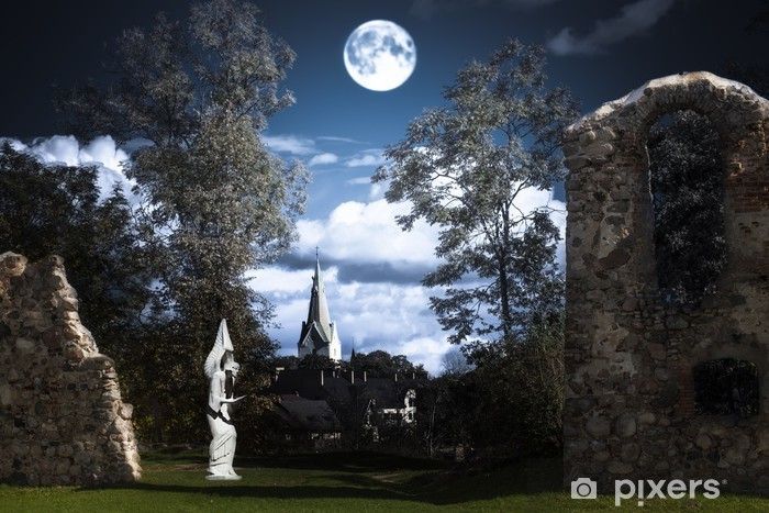 Full moon over an angel statue and castle ruins Wall Mural - Vinyl