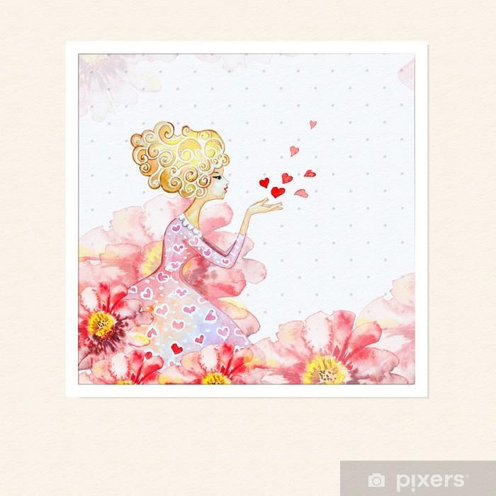 Fototapete Mädchen In Den Blumen Aquarell • Pixers®