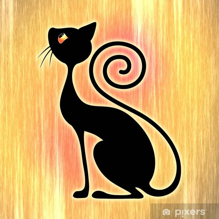 Black Cat Vintage Style Design Gatto Nero Art Deco Wall