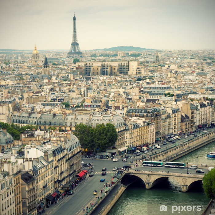 Paris skyline with Eiffel Tower Vinyl Wall Mural - Themes