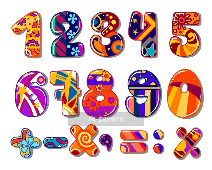 Cartoon colourful school numbers Wall Decal - Signs and Symbols