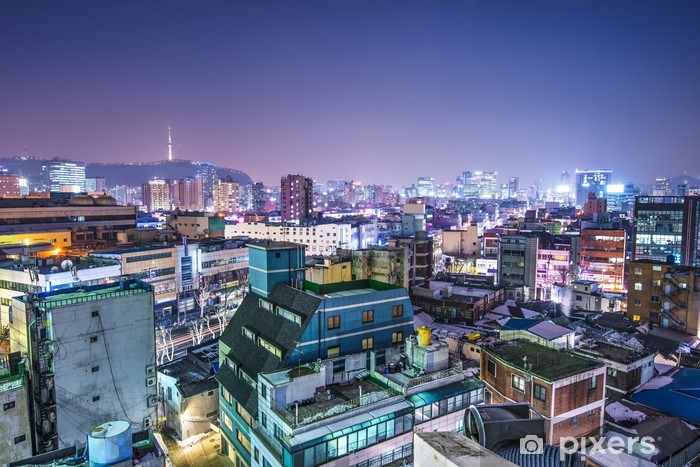 Naklejka Pixerstick Seul, Korea Południowa Skyline - Seul