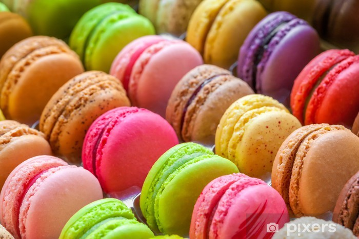 traditional french colorful macarons in a box Pixerstick Sticker - Themes
