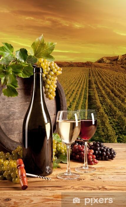 Wine in vineyard Vinyl Wall Mural - Themes
