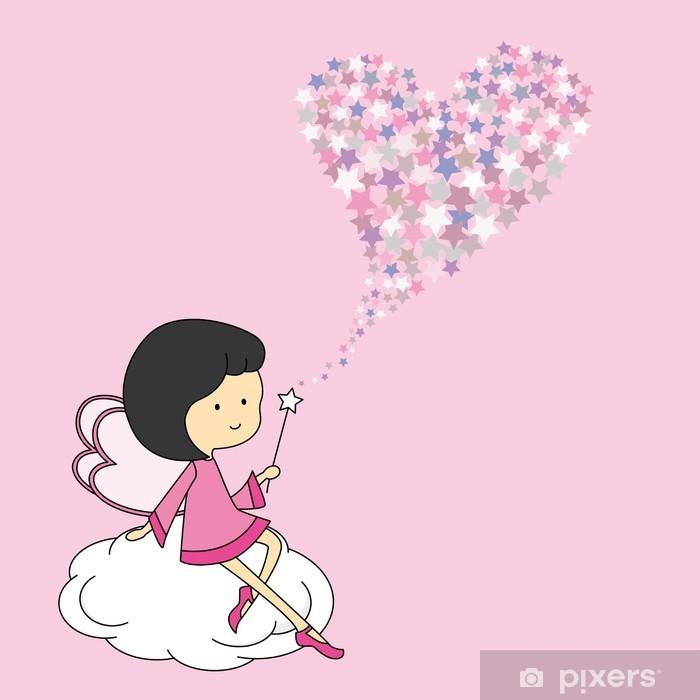 Fototapeta winylowa Wróżka siedzi na chmurze z magicznej różdżki. Karta Miłość - Przeznaczenia
