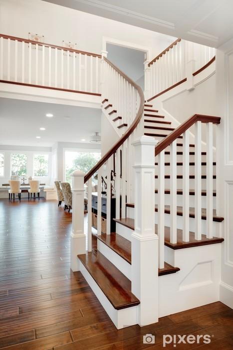 Papier Peint Escalier Et Vue Du Salon Et Au Deuxieme Etage Dans La Maison Neuve