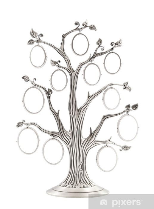 Family tree silver photo frame Pixerstick Sticker - Home and Garden