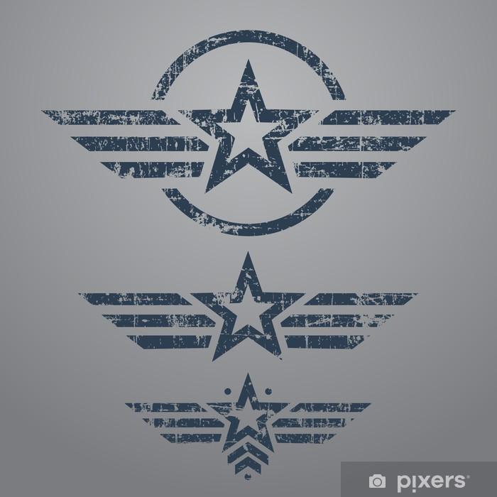 Vinyl-Fototapete Military-Stil Emblem Set - Themen