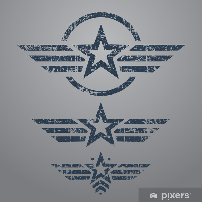 Sticker Pixerstick Emblème ensemble de style militaire - Thèmes