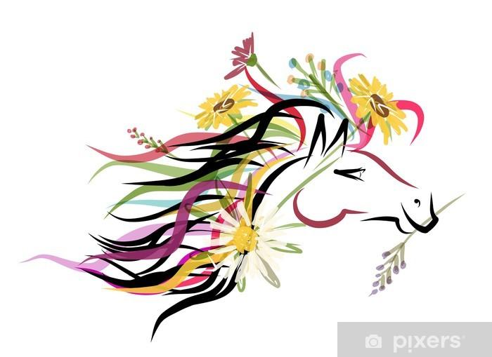 Sticker Pixerstick Esquisse de la tête de cheval avec décor floral pour votre design. Symbole -
