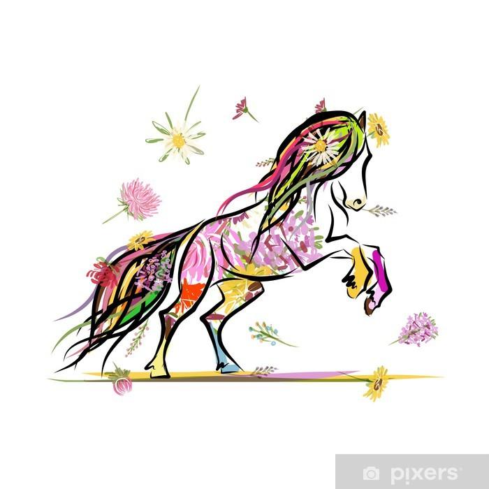 Papier peint vinyle Croquis de cheval avec décor floral pour votre design. Symbole du - Mammifères