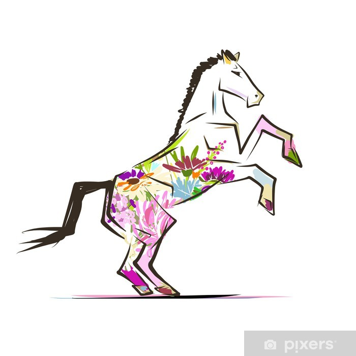 Papier peint vinyle Croquis de cheval avec décor floral pour votre design. Symbole du - Sticker mural