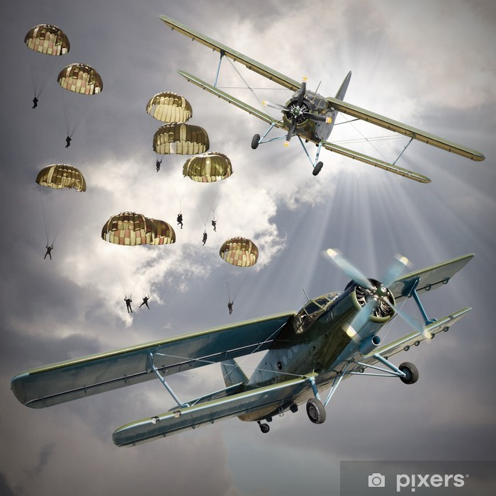 Retro style picture of the biplanes with airborne infantry. Vinyl Wall Mural - Themes