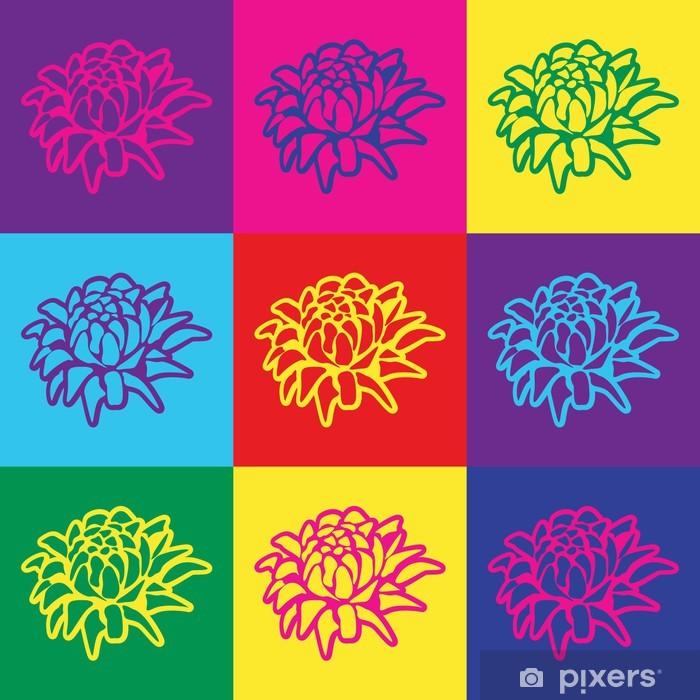 Vinyl-Fototapete Pop-Art-Illustration mit bunten Blumen -