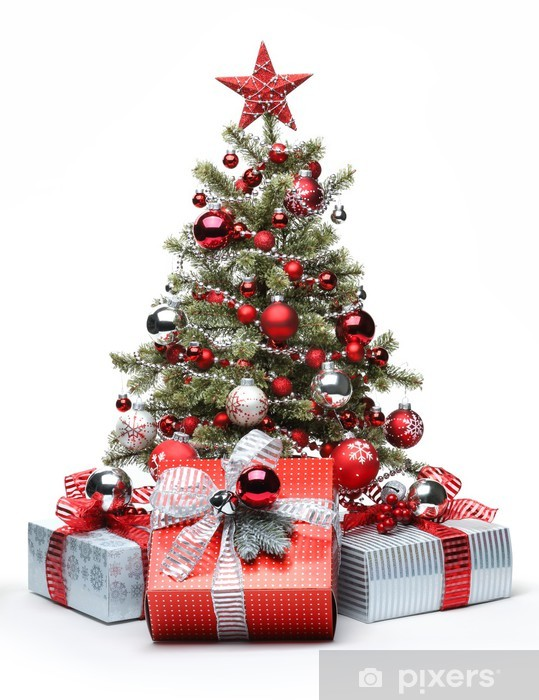 Decorated Christmas tree and gifts Pixerstick Sticker - Christmas