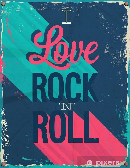 I love rock and roll. Vector illustration. Pixerstick Sticker - Themes