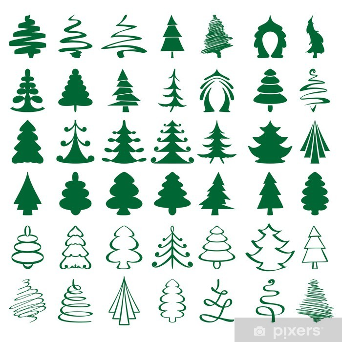 christmas trees sketch set vector illustration Vinyl Wall Mural - International Celebrations