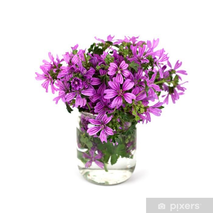 Wild Violet Flowers In Glass Jar Sticker Pixerstick