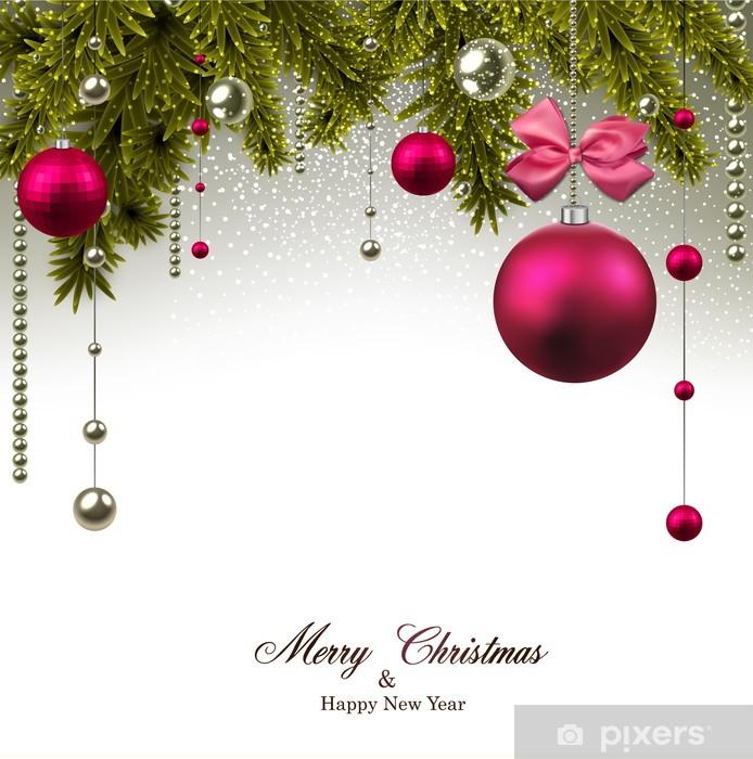 Nálepka Pixerstick Vánoční pozadí s jedlové větve a míčky. - Mezinárodní svátky