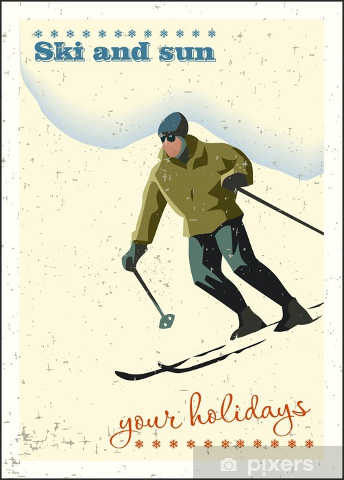 Naklejka Pixerstick Zima w tle. Narciarz slajdy z góry. - Sporty zimowe
