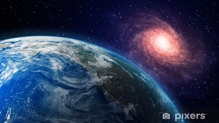 Earth and a spiral galaxy in the background Vinyl Wall Mural - Universe