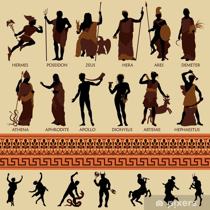 All 12 Greek Gods and Ancient Mythology Pixerstick Sticker - Imaginary Animals