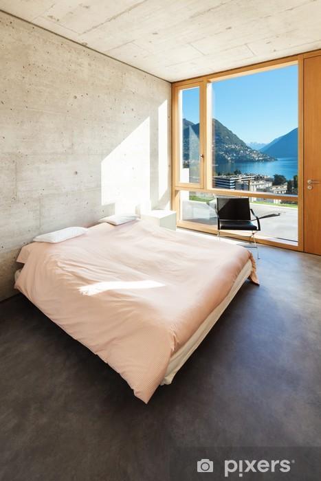 hermosas fotos de interiores de casas Vinilo Hermosa Casa Moderna En El Cemento Interiores Dormitorio Pixerstick