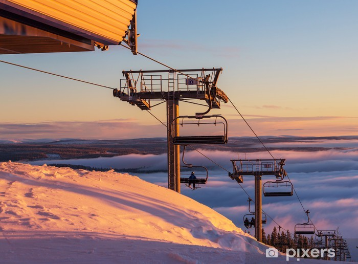 Sticker Pixerstick Station de ski - Vacances