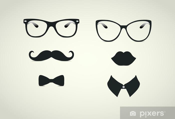 Pixerstick Sticker Hipster dame en heer Icohs - Snor
