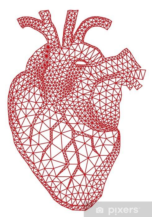 Vinyl Fotobehang Rood menselijk hart met geometrische maas patroon, vector - Gelukkig