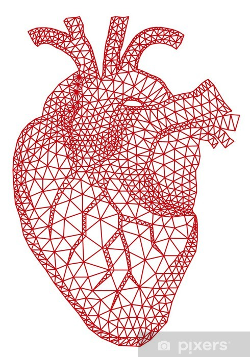 red human heart with geometric mesh pattern, vector Pixerstick Sticker - Happiness