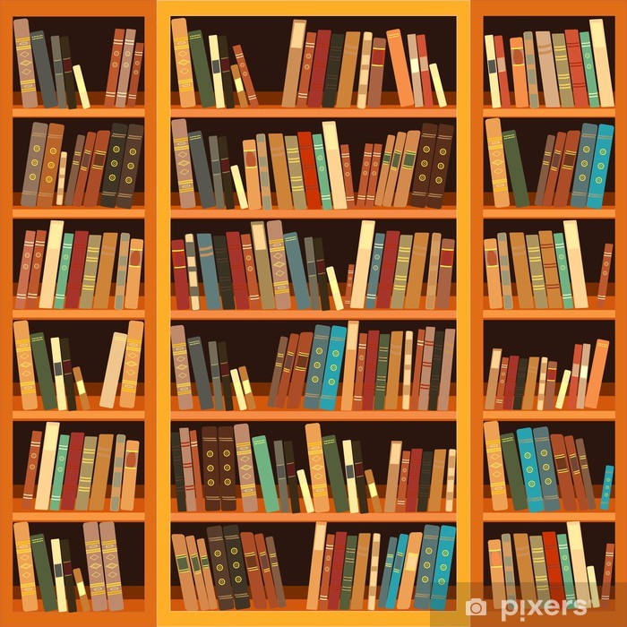 Large bookcase with different books Pixerstick Sticker - Library