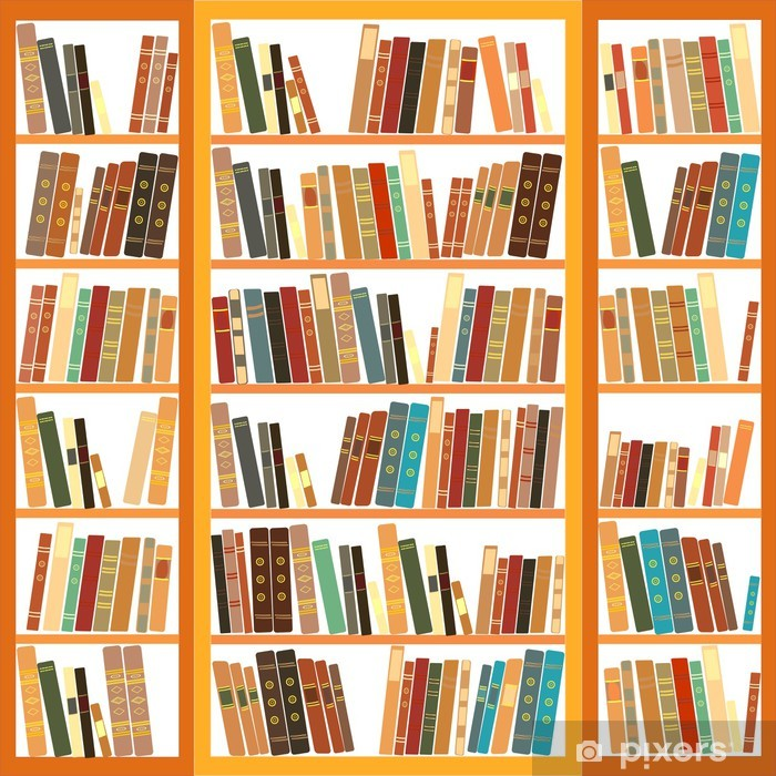 Plakat w ramie Duży regał z różnych książek - Biblioteczka