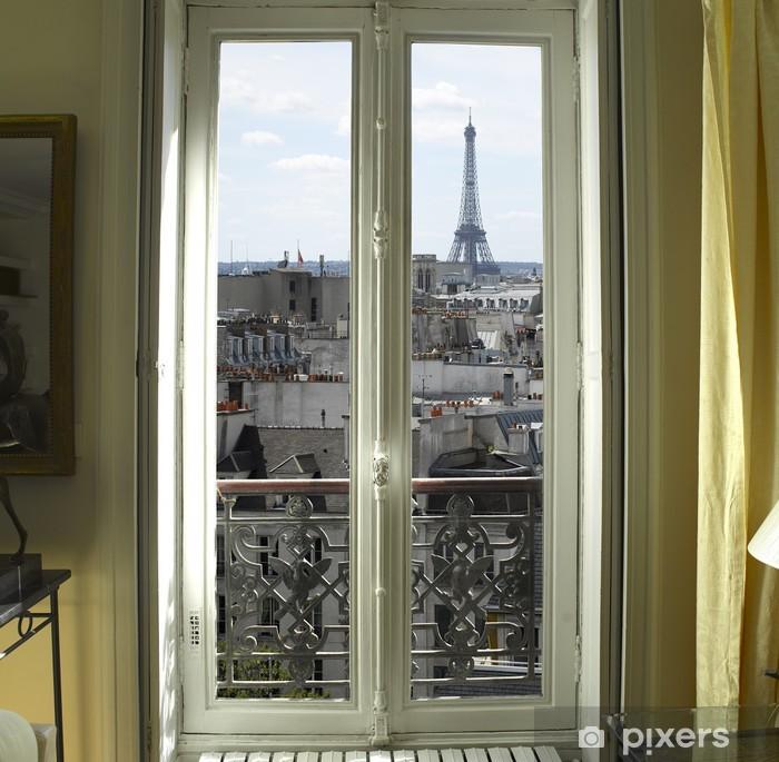 Sticker Pixerstick France - Paris - Fenêtre avec vue Tour Eiffel et les toits - iStaging