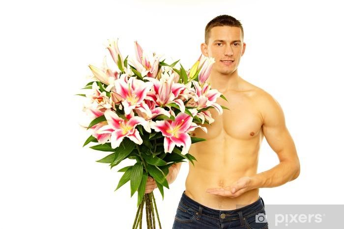 Mazzo Di Fiori Uomo.Adesivo Giovane Uomo A Torso Nudo Offre Un Mazzo Di Fiori Pixers
