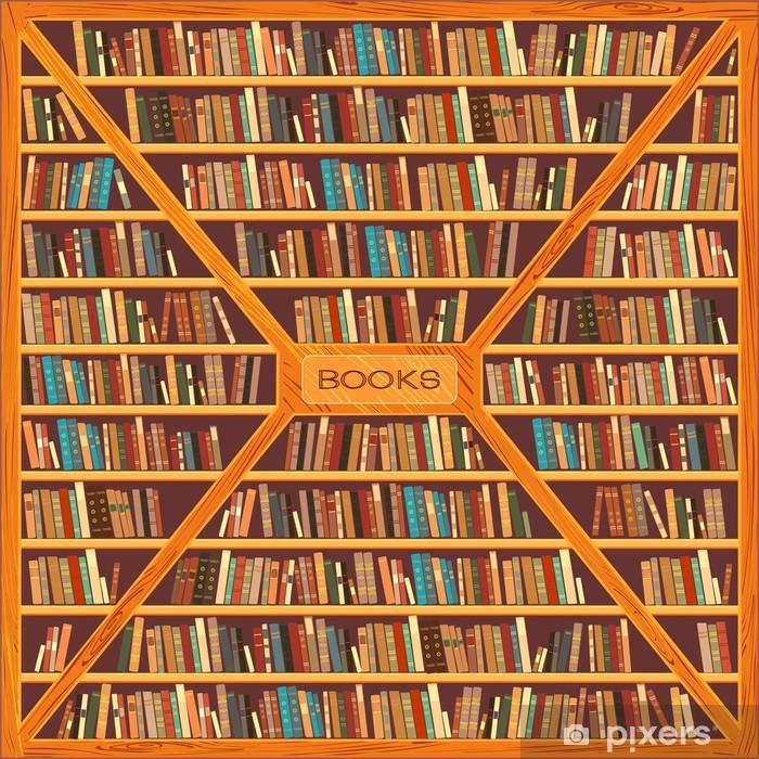 Vinyl-Fototapete Große Bücherregal mit verschiedenen Bücher - Bücherschrank