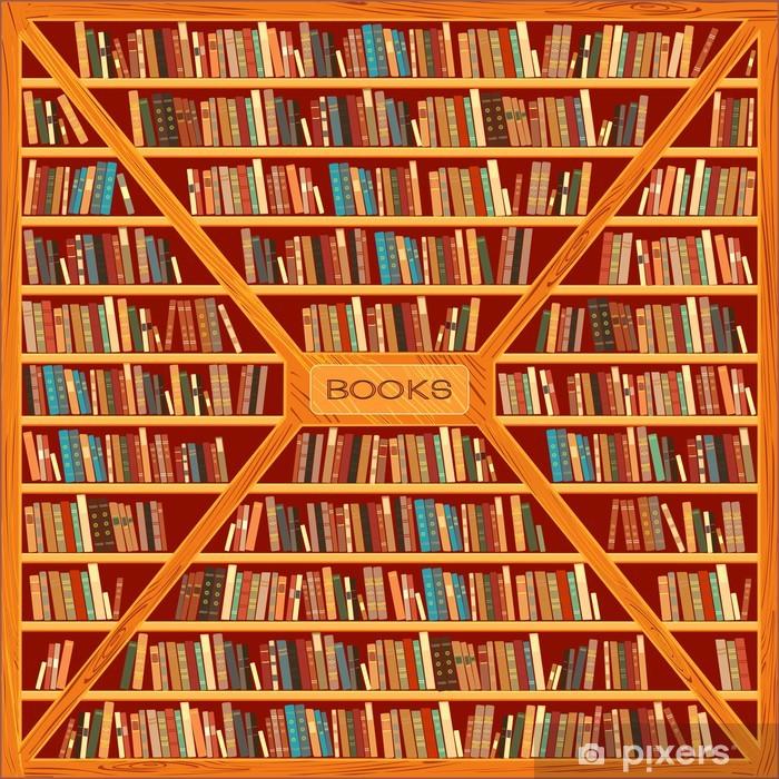 Papier peint vinyle Grande bibliothèque avec des livres différents - Bibliothèque