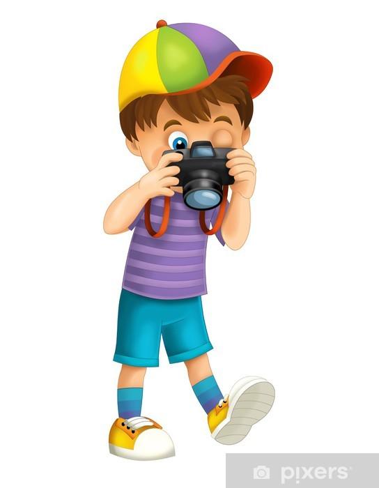 Pixerstick Sticker Cartoon kind geïsoleerd - illustratie voor de kinderen - Muursticker