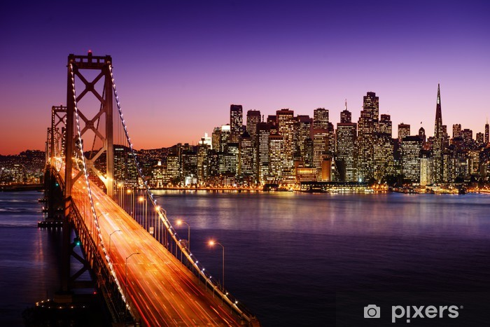San Francisco skyline and Bay Bridge at sunset, California Vinyl Wall Mural -