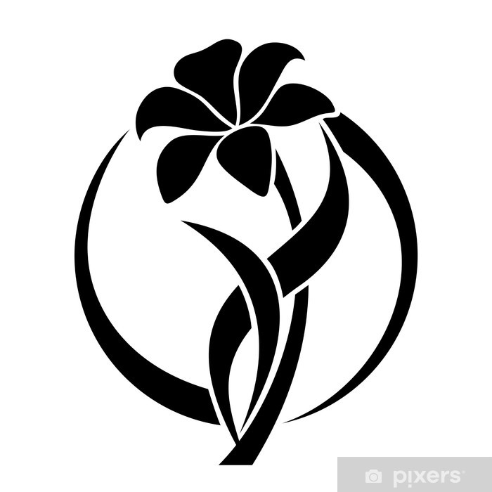 Water Lily Stencil Black And White: Black Silhouette Of Lily Flower. Vector Illustration. Wall
