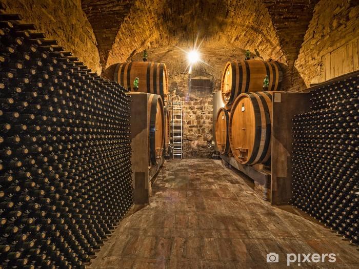 wine cellar with bottles and oak barrels Vinyl Wall Mural - Styles