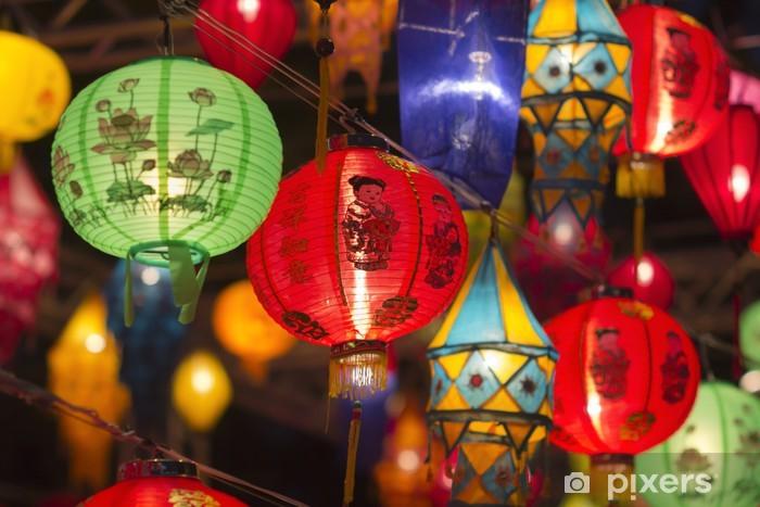 Pixerstick Sticker Aziatische lantaarns in lantaarnfestival - Stijlen