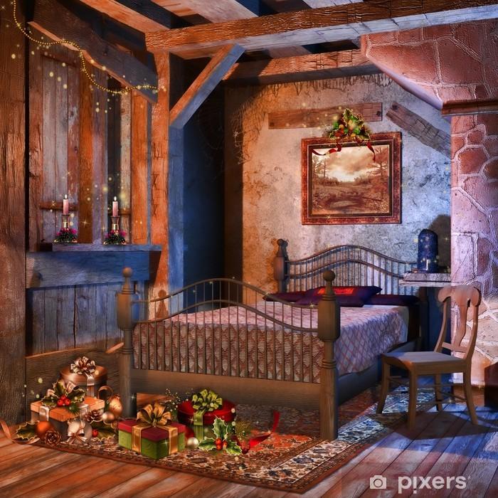 Camera Matrimoniale In Regalo.Carta Da Parati Retro Camera Da Letto Con I Regali Di Natale