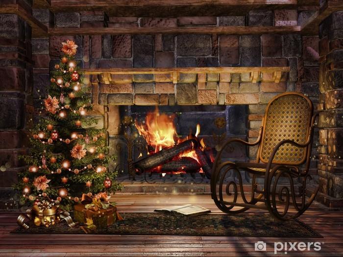 Immagini Natalizie Con Camino.Adesivo Sala Con Camino Un Albero Di Natale E Una Sedia A Dondolo Pixerstick