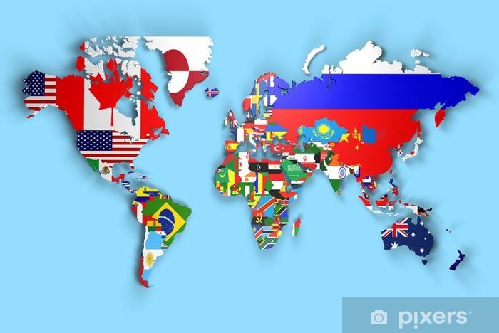 Fototapete 3d Weltkarte Mit Flaggen Der Welt Angehoben Pixers