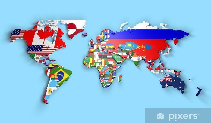 Cartina Mondo Con Bandiere.Planisfero Mondo 3d Con Bandiere In Rilievo Sticker Pixers We Live To Change